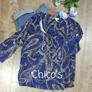 CHICO'S KNIT & FLOWY TUNIC, SIZE LARGE